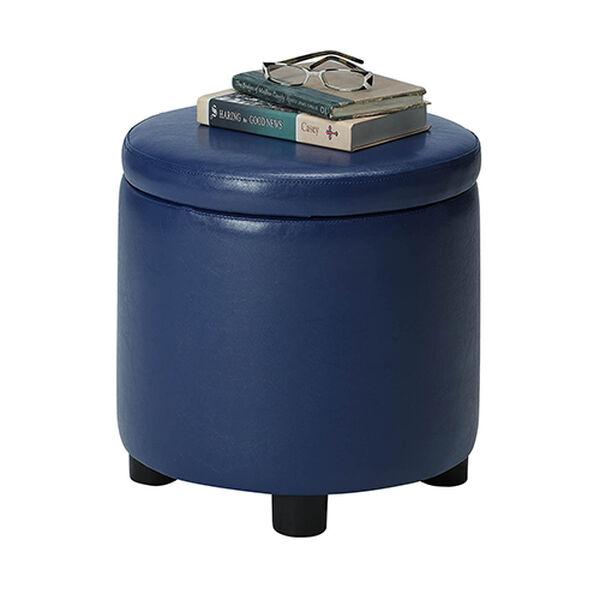 Designs4Comfort Blue Round Accent Storage Ottoman, image 3