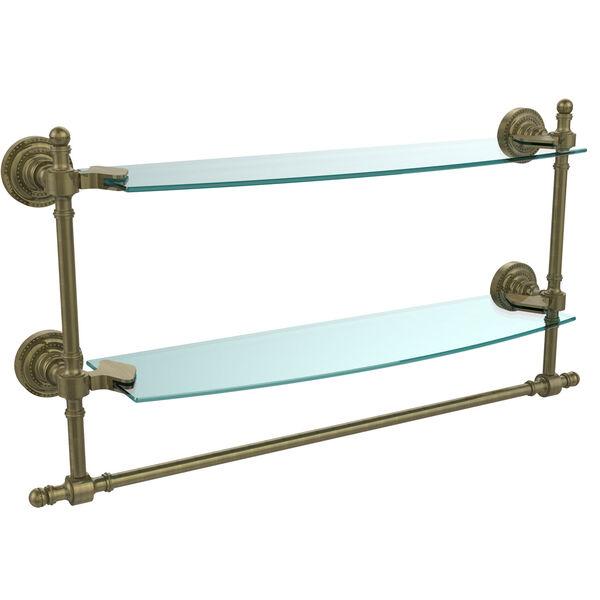 Retro Dot Antique Brass 18 Inch Double Glass Shelf with Towel Bar, image 1