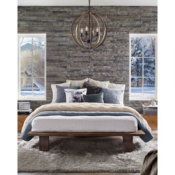 Hyattstown Weathered Wood and Iron Five-Light Chandelier, image 3