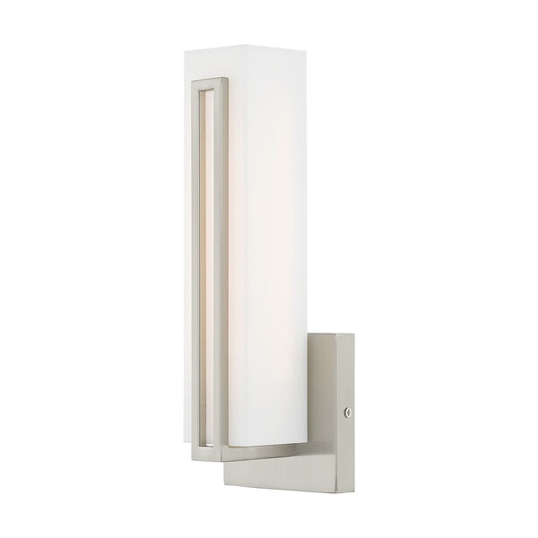 Fulton Brushed Nickel 4-Inch ADA Wall Sconce with Satin White Acrylic Shade, image 1