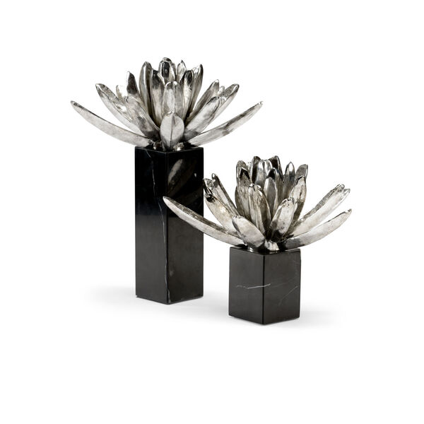 Black and White 11-Inch Water Lilies, Set of 2, image 1