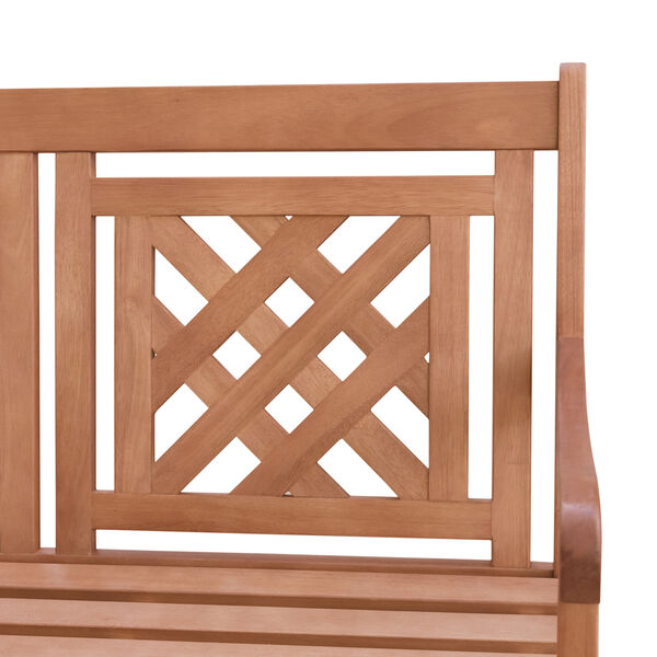 Malibu Brown Plaid 57-Inch Eucalyptus Hardwood Patio Bench, image 6