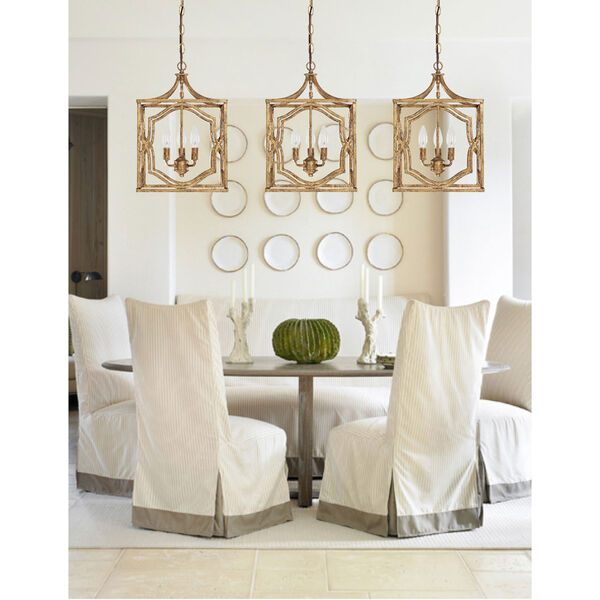 Blakely Antique Gold Three Light Foyer- Antique Gold, image 4