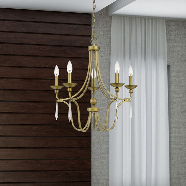 Joules Aged Brass Five-Light Chandelier, image 7