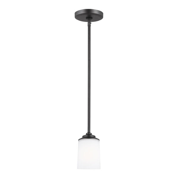 Kemal Midnight Black One-Light Mini Pendant with Etched White Inside Shade Energy Star, image 1