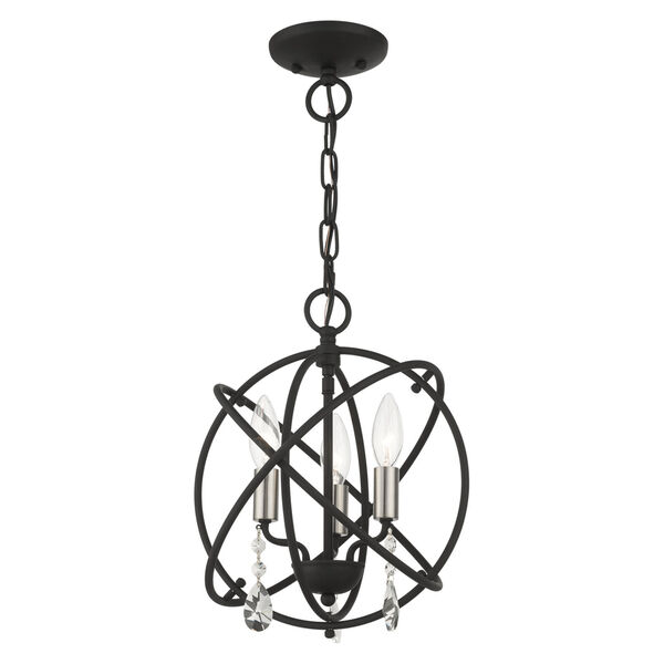 Aria Black 13-Inch Three-Light Convertible Chandelier, image 3