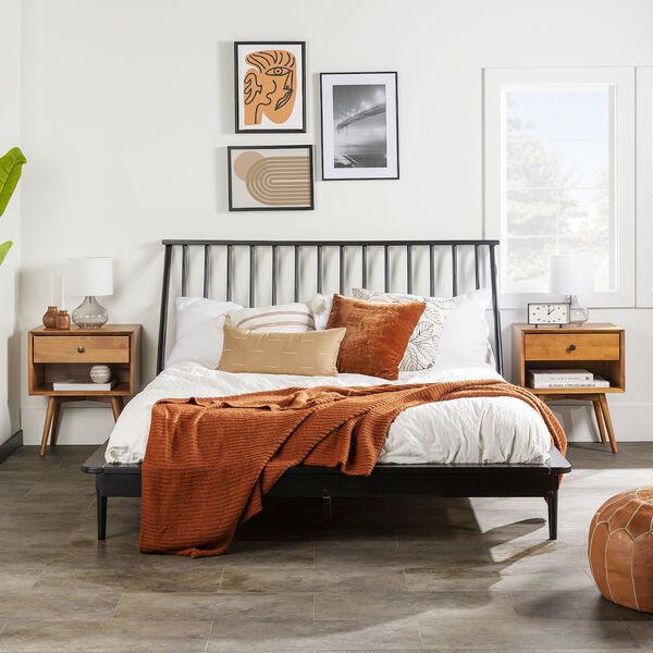 Black Wood Queen Spindle Bed, image 2