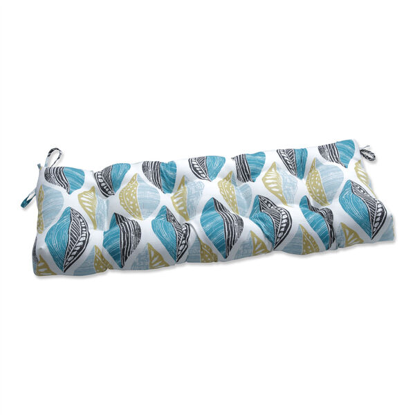 Leaf Block Teal and Citron 44-Inch Tufted Bench CUshion, image 1