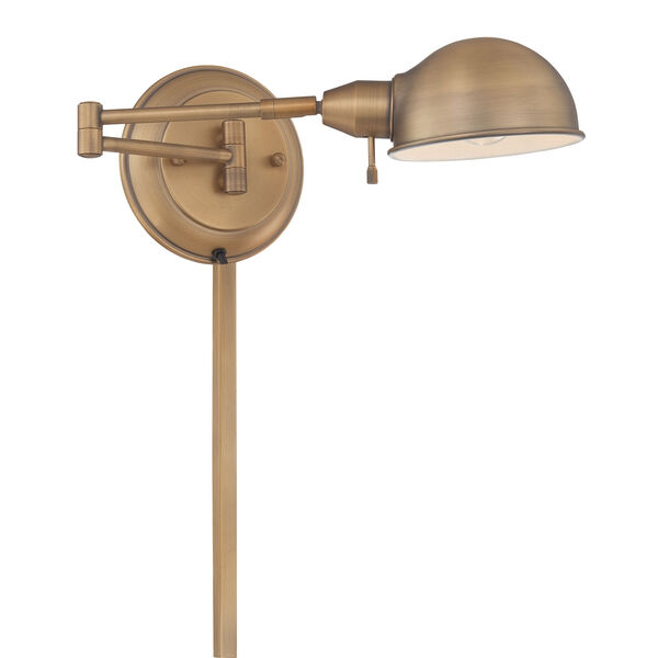 Rizzo Antique Brass One-Light Swing-Arm Wall Lamp, image 1