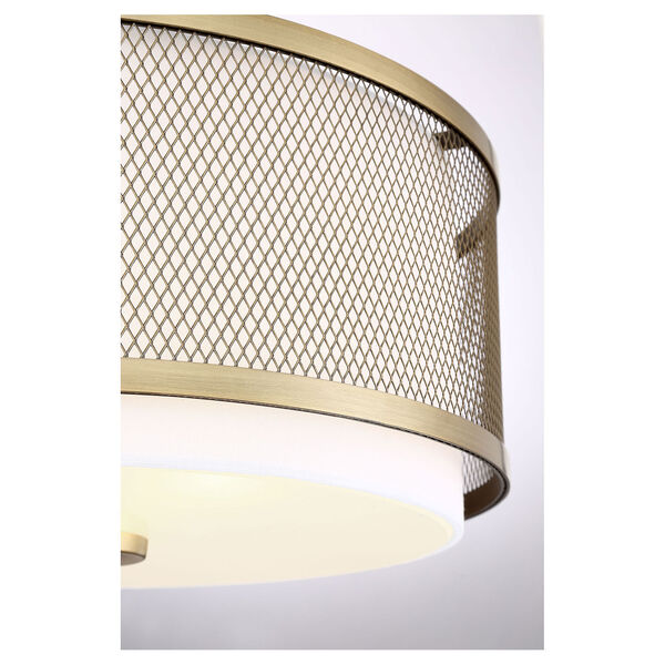 Selby Natural Brass Three-Light Flush Mount Drum  with White Fabric Shade, image 5