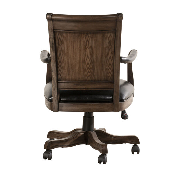 Kingston Weathered Walnut And Black Leather Wooden Desk Chair With Arm And Caster, image 3