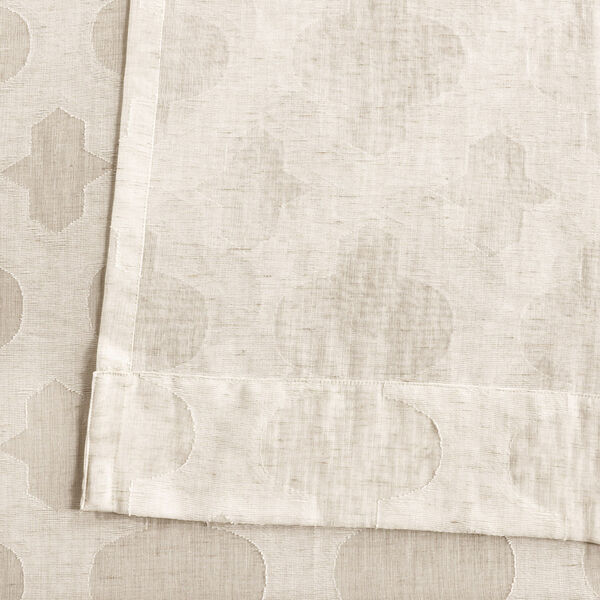 Ivory Tile Patterned Faux Linen Sheer 108 x 50 In. Curtain Single Panel, image 5