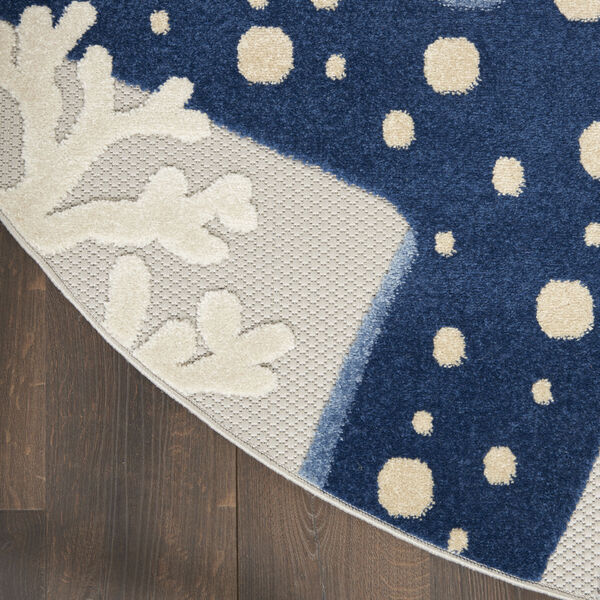 Aloha Gray and Blue 7 Ft. 10 In. x 7 Ft. 10 In. Round Indoor/Outdoor Area Rug, image 4