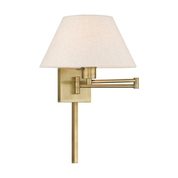 Swing Arm Wall Lamps Antique Brass 13-Inch One-Light Swing Arm Wall Lamp with Hand Crafted Oatmeal Hardback Shade, image 1