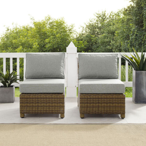Bradenton Gray Weathered Brown Two-Piece Outdoor Wicker Chair Set, image 3