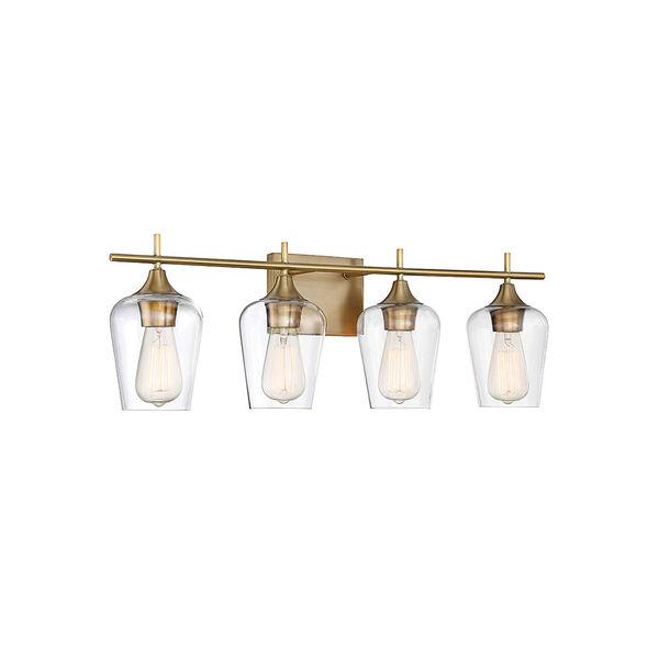 Nicollet Warm Brass 29-Inch Four-Light Bath Vanity, image 2