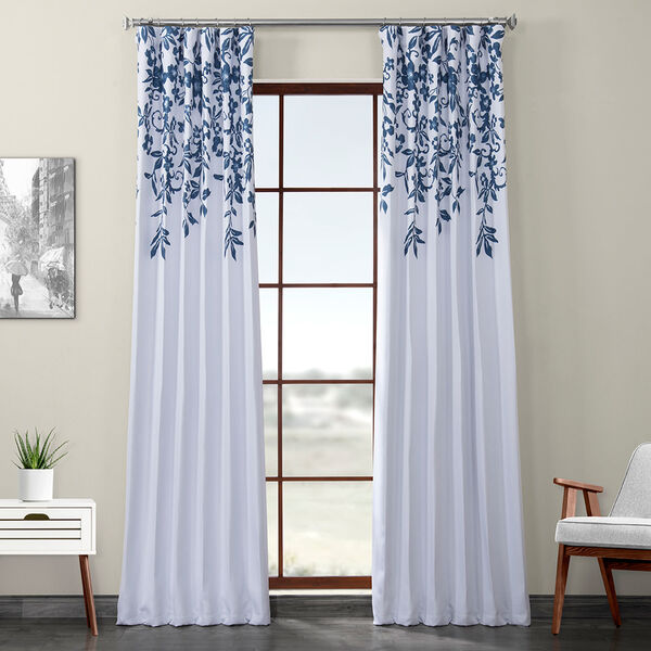 Blue Printed 108 x 50-Inch Polyester Blackout Curtain Single Panel, image 1