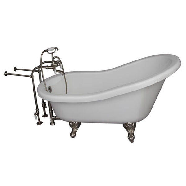 Brushed Nickel Tub Kit 67-Inch Acrylic Slipper, Tub Filler, Supplies, and Drain, image 1