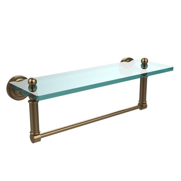 Dottingham Brushed Bronze 16x5 Glass Shelf w/ Towel Bar, image 1