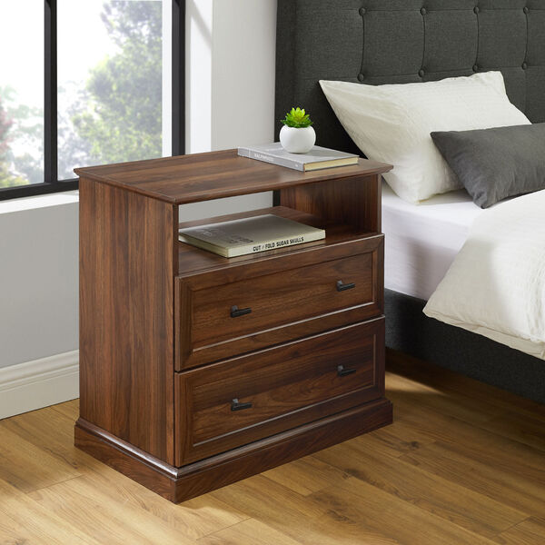 Clyde Dark walnut Two Drawer Nightstand, Set of Two, image 1