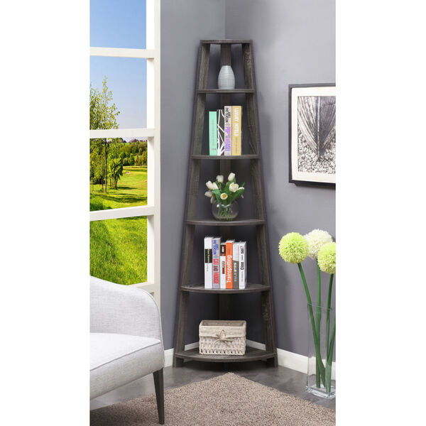 Newport Weathered Gray Five-Tier Corner Bookcase, image 2