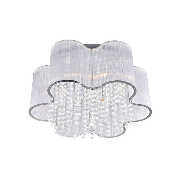 Spring Morning Chrome Seven-Light Drum Shade Flush Mount with K9 Clear Crystals, image 4