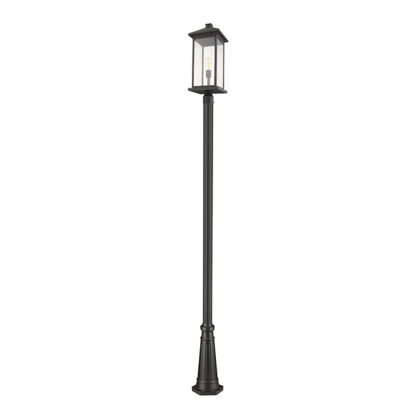 Black 10-Inch One-Light Outdoor Post Mounted Fixture With Transparent Beveled Glass, image 1