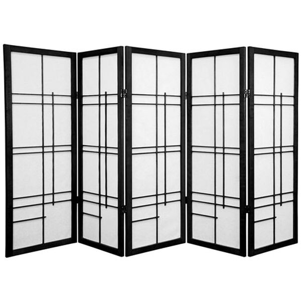 Four Ft. Tall Low Eudes Shoji Screen - Black Five Panel, Width - 85 Inches, image 1