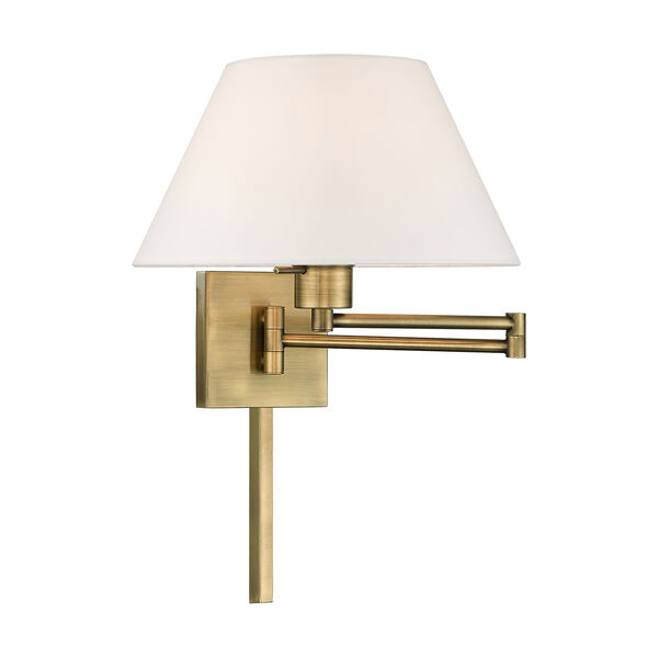 Swing Arm Wall Lamps Antique Brass 13-Inch One-Light Swing Arm Wall Lamp with Hand Crafted Off-White Hardback Shade, image 1