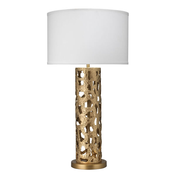 Firenze Antique Gold and White One-Light Table Lamp, image 1