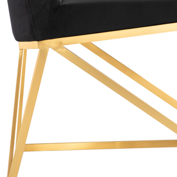 Caprice Black Velour and Brushed Gold Dining Chair, image 4