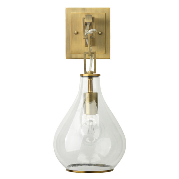 Clear Glass with Antique Brass One-Light Wall Sconce, image 5