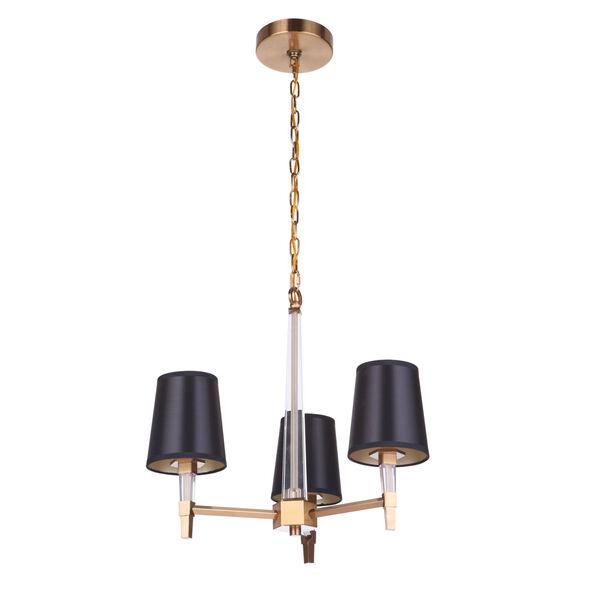 Tarryn Satin Brass Three-Light Chandelier, image 3