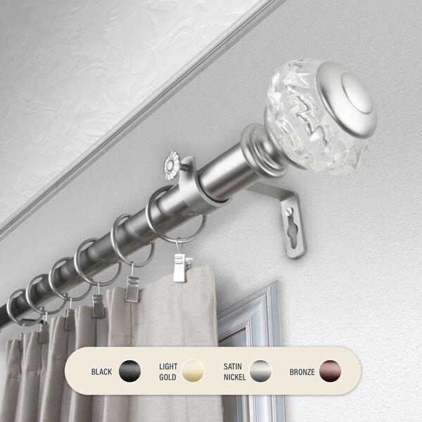Inez Satin Nickel 160-240 Inch Curtain Rod, image 1