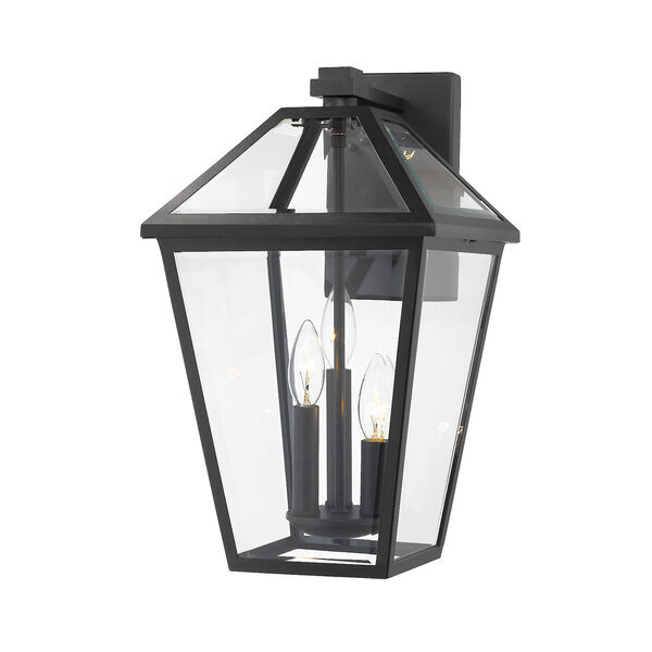 Talbot Black Three-Light Outdoor Wall Sconce with Transparent Bevelled Glass, image 1