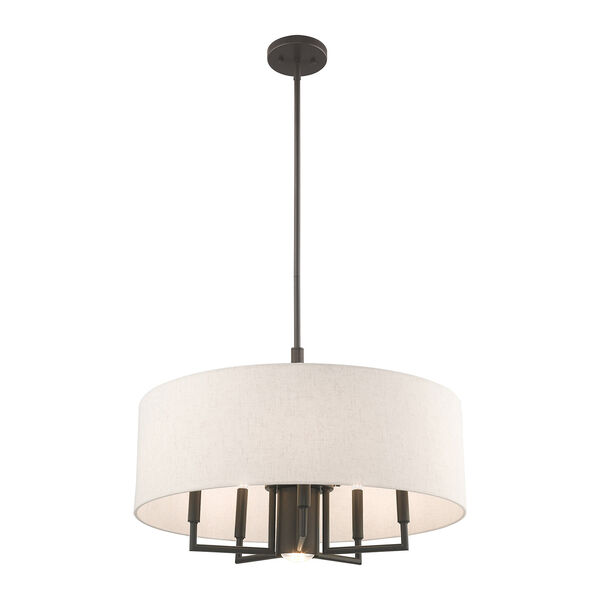 Meridian English Bronze 24-Inch Six-Light Pendant Chandelier with Hand Crafted Oatmeal Hardback Shade, image 4