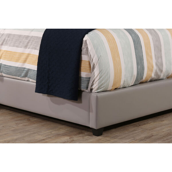 Lusso Queen Bed Set with Rails - Gray Faux Leather, image 3