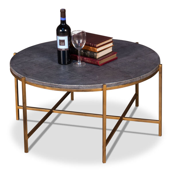 Black Grey Shagreen Coffee Table, image 2