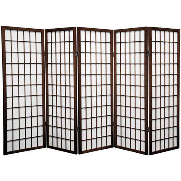 Walnut Four Ft. Tall Window Pane Shoji Screen, Width - 86.25 Inches, image 1