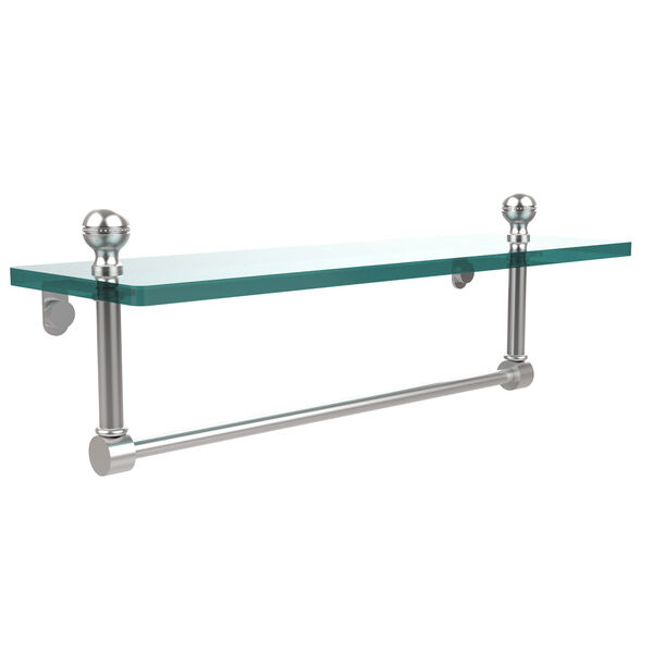 Satin Chrome 16 Inch Single Shelf w/ Towel Bar, image 1