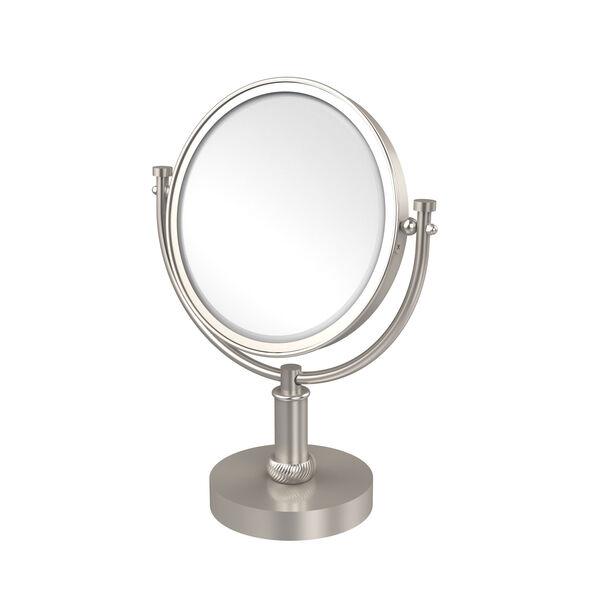 8 Inch Vanity Top Make-Up Mirror 2X Magnification, Satin Nickel, image 1