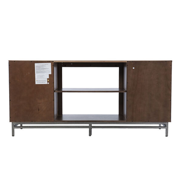 Dibbonly Brown and matte silver Electric Fireplace with Media Storage, image 6