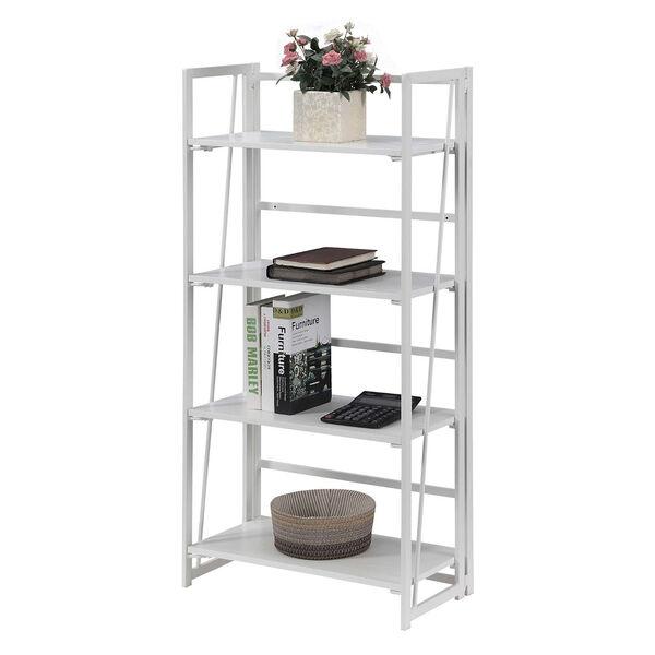 Xtra White Folding Four Tier Bookshelf, image 3