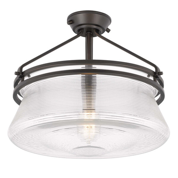OKeefe Oil Rubbed Bronze One-Light Embossed Glass Semi-Flush Mount, image 5