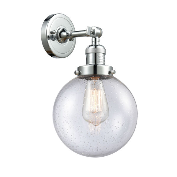 Franklin Restoration Polished Chrome Eight-Inch LED Wall Sconce with Seedy Glass Shade, image 1