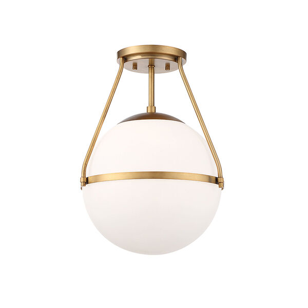 Nicollet Natural Brass One-Light Semi Flush Mount with White Opal Glass, image 3