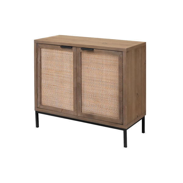 Grace Washed Wood and Black Two Door Accent Cabinet, image 1