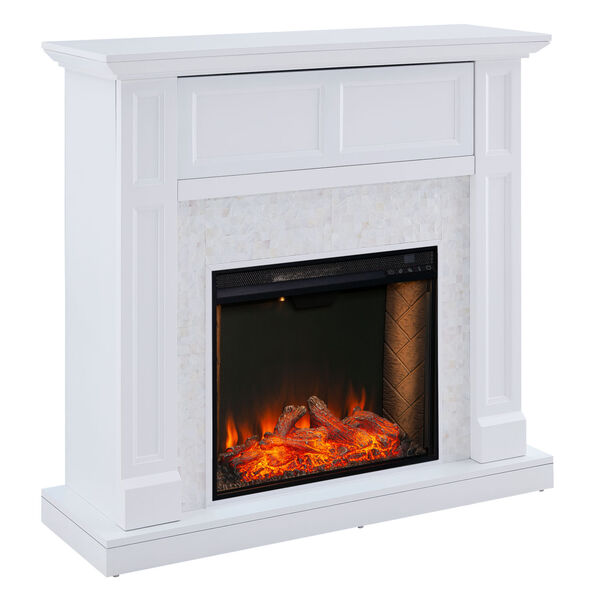 Nobleman White Smart Media Electric Fireplace with Tile Surround, image 5