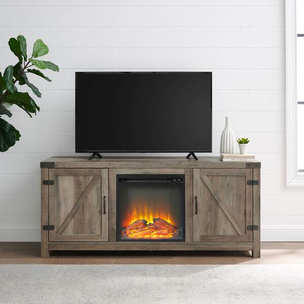58-Inch Barn Door Fireplace TV Stand - Grey Wash, image 3