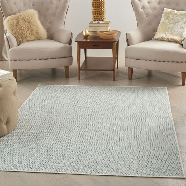 Courtyard Ivory and Aqua 6 Ft. x 9 Ft. Rectangle Indoor/Outdoor Area Rug, image 1